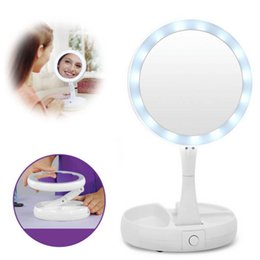 Wholesale Wholesale Folding Frames - My Fold Away LED Makeup Mirror Double-sided Rotation Folding USB Lighted Vanity Mirror Touch Screen Portable Tabletop Lamp Adjustable Mirror