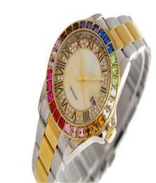 хрустальная окантовка Скидка reloj aaa полный Алмаз часы женщины люксовый бренд модельер дамы золотые часы Кристалл циферблат горный хрусталь рамка из нержавеющей стали тег часы