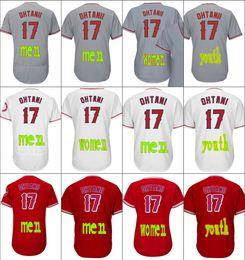 Wholesale Womens Orange Shorts - Mens Womens Youth 17 Shohei Ohtani Jersey Los Angeles Baseball Jerseys Flexbase Cool Base White Red Grey Stitched Size S-4XL