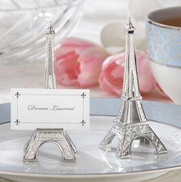 """Wholesale Eiffel Tower Place Card Holders - Free shipping 20pcs lot wedding favor""""Evening in Paris"""" Eiffel Tower Silver-Finish Place Card Holder"""