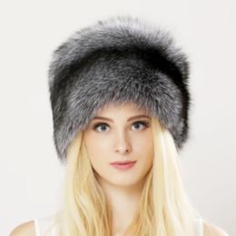 2019 veri cappelli russi invernali Inverno Unisex Genuine Fox Fur Hat Reale berretto di pelliccia di procione con borsetta in pelle naturale spessa caldo cappuccio russo veri cappelli russi invernali economici