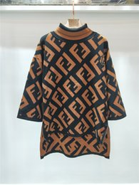 Wholesale women s long sleeve tunics - Brand Designer Women Wool Sweaters 2018 Autumn Winter Fashion High Neck Letters Jacquard Knitted Pullovers Tops Tunic Jumpers Knitwear