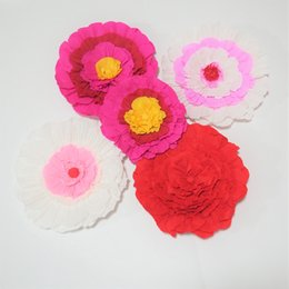 Wholesale window shows - Giant Crepe Paper Flowers 5PCS For Wedding & Event Backdrop Decor Baby Nursery Baby Shower Fashion Show Windows Display