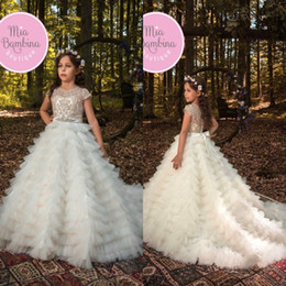 Wholesale Beautiful Beaded Ball Gown - Beautiful Layers Ruffles Girls Pageant Dresses A Line Cap Sleeves Appliques Beaded Sash Forest Country Flower Girl Dresses