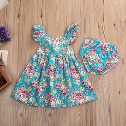 Wholesale New Sweet Girls - 2018 Summer Baby Girl clothing Dresses with shorts Sweet Vintage Floral Print dress Flutter sleeve Back cross strap New arrival 3M-4years