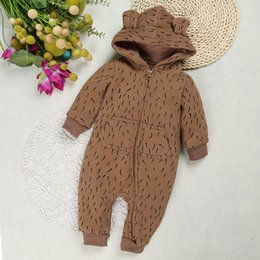 Wholesale Newborn Baby Clothes For Winter - 2018 Baby Boy Clothes Baby Rompers Clothing for Newborn Girl One Piece Jumpsuit Rabbit Hooded Children's Clothing pink & brown