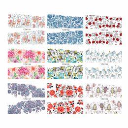 Совиное искусство ногтей онлайн-WUF 1 Sheet Chic Flower Owl Designs Water Transfer Nail Sticker Flower Decals DIY Art Decoration Fingernail