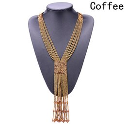 Wholesale rice hand - Fashion Boho Long Tassel Neck Decoration New Valentines Day Gifts Long fringed wild rice beads hand-knit necklace
