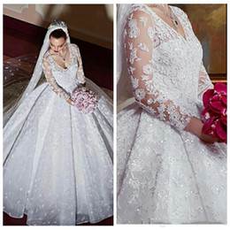 Wholesale online wedding dress bridal gown - V-Neck Long Sleeves Appliques Ball Gown Wedding Dresses 2018 Ruffle Sequins Bridal Gowns Formal Custom Online Vestidos De Novia