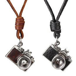 Wholesale Vintage Camera Jewelry - Hot Sale Leather Pendant Necklace Vintage Punk Camera Charm Fashion Long Genuine Leather Chain Necklaces Female Male Jewelry Gift G277S
