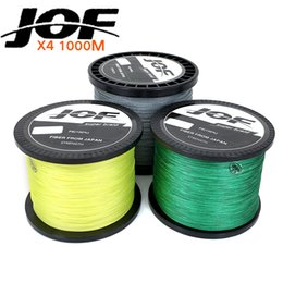Wholesale Fish Shooting - line JOF 1000m Braid Multifilament 4 strands lure PE Braided Wire Fish Lines Material 20LBS-100LBS