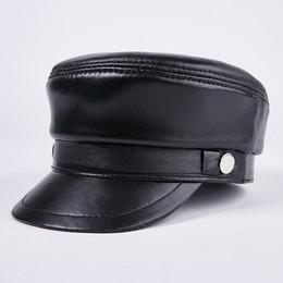 Wholesale Real Gentleman - Leather Students Hats Men and Women Models Military Hat Flat Top Hat Sheepskin Caps Baseball Hats Outdoor Mens Tourist Cap Leisure Cap
