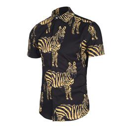Wholesale Silk Fabric Shirts - 2018 New summer mens soft silk fabric dress shirt fashion design Black color zebra 3D Print male casual silk shirts short sleeve