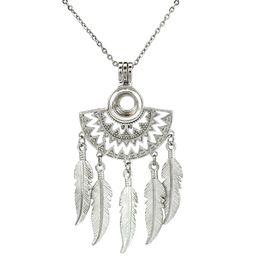 Sonnenförmige halskette online-Native Half Moon strahlende Sonne Fan Formen filigrane baumeln Feder Perlen Perle Käfig Halskette 20 Zoll