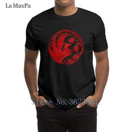 Camisa tradicional china roja online-Personalized Pattern Men's Shirt Traditional Red Chinese Phoenix Circle Camiseta equipada 2018 Camiseta Hombre Cotton Tee Shirt