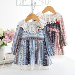 Wholesale Girls Christmas Ideas - Korean Girls Dress idea fish Brand cotton retro style Pricness Baby clothes Floral Printed Dresses Cherry Lace Collar Cotton Dress A8283