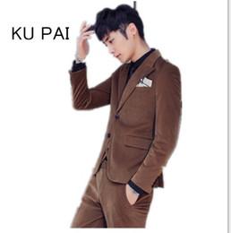 Wholesale Korean Suit Men Green - Autumn and winter gold velvet fashion suit men's three-piece Korean version of Slim small suit male corduroy tide