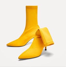 Argentina Botas de calcetines sexy estilo sexy Botas de tacón alto con un tubo corto y botas elásticas de color amarillo cheap yellow sexy tube Suministro