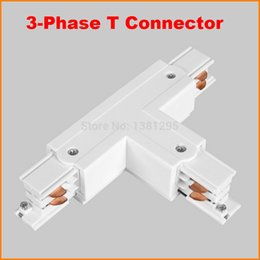 Wholesale T Shaped Connector - 3 Phase Circuit 4 Wire Square LED Track Light Rail T Shape connector aluminum track accessories LED lighting system White