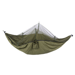 net kits Promo Codes - OUTAD Portable Hanging Hammock Bed With Anti Mosquito Net & Metal Buckle Outdoor Camping Sleeping Bed Travel Kits For 2 Person
