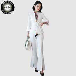 suit work wear for women Promo Codes - 2018 New Women Pant Suit Office Uniform Designs Formal Ladies Business Career Wear white Blazer With Trouser For Work S-4XL