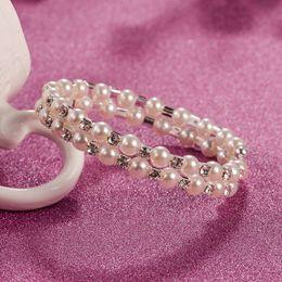 ensembles de bijoux de mariée bleu clair Promotion 2018 pas cher Mode Perle Diamant Gem Bracelet Ouvrir Multi-rangs Bracelet Réglable Stretch Élégant Bracelet Bride Sauvage