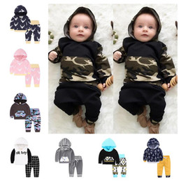 Wholesale Girls Long Sleeve Outfits - INS Baby Suits 40 styles Baby Boys Girls Floral Print Suits Infant Clothes Set Hoddies+Pants Baby Long Sleeve Outfits Ins Clothing Set D979