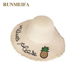 bb49dcf33c74b RUNMEIFA Wide Brim Sun Hat Women Big Straw Cap Solid Embroidered Pineapple  Beach Cap Summer Fashion Sun Hat Black Letter