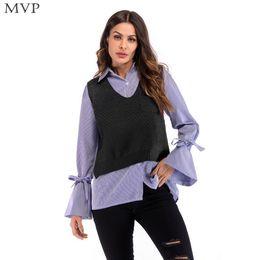 d7263cfed Inverno Top Sem Mangas Mulheres Verde Cáqui V Sólida Regular Regular Knit  Moda Neck Sweater Vest Azul Preto Primavera Outono camisola preta colete  mulheres ...