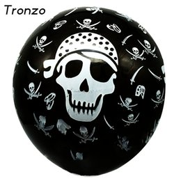 Wholesale pirate knives - Tronzo 100Pcs 12Inch Halloween Latex Balloons Pirate Sharp Knife Design Black Air Ball For Kids Toys Birthday Party Decorations