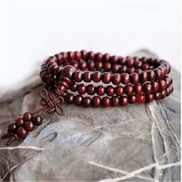 Wholesale Red Sandalwood Prayer Beads - Wholesale- Beaded Bracelets Women Men Red Sandalwood 6mm 108 Beads Bracelet Buddhist Buddha Meditation Prayer Bracelet Charm Bracelets