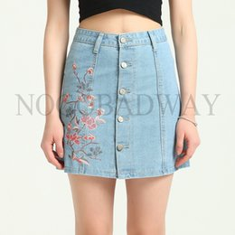 0015abc2f0e16 Plus Size High Waist Denim Skirts Womens 2018 Summer Style Floral  Embroidered Short Mini Jeans Skirt Button Casual Saia oodji S916