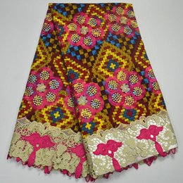 Wholesale High Quality Super Wax - Best Selling Guipure Super Wax With Lace High Quality Embroidered Wax Lace Fabric African Lace Fabric Wax For Clothes XYWD4