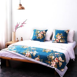 Wholesale Hotel Bedding Runner - yazi Classic Floral Polyester Double Layer Bed Runner Bedding Protector Bed Tail Towel Cover 3 Size Hotel Home Decor