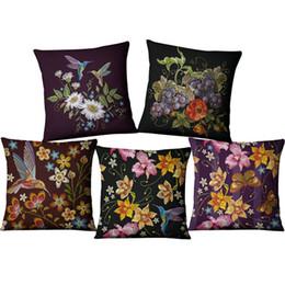 Canada 45 * 45 cm Fleur Imitation broderie housse de coussin décorations pour bureau à domicile moderne chaise cojines chaise canapé taie d'oreiller Coton Lin Offre