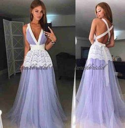 Wholesale Criss Cross Straps Dress - sexy prom dresses sweep train custom made tulle lace deep v neck evening formal dresses 2018 Criss Cross Straps dress vestidos de fiesta