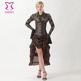 44f1d27ab Corzzet Brown Collared Top Steampunk Underbust Bustiers Corset Dress  Burlesque Gothic Steampuk Corselet Plus Size 6XL