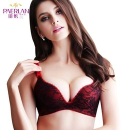Wholesale One Piece Zero - PAERLAN Seamless Wire Free zero bound bra Push Up vice milk deep V sexy lingerie lace comfortable One-Piece Lycra Back Closure