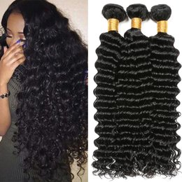 Wholesale Malaysian Curly Extensions - 8A Unprocessed Brazilian virgin Bundles Deep Wave Curly Hair Weft Human Hair Peruvian Indian Malaysian Hair Extensions Dyeable free shipping
