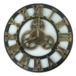 Nuevo Moderno Loft Cocina Silencio Reloj de Pared 45 CM Romano árabe Numeral Relojes Madera Diseño Mecánico Creativo Horloge Home Decor Proveedor desde fabricantes