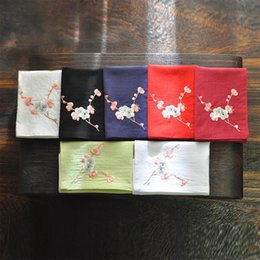 Wholesale Red Hanfu - Women's cotton embroidered handkerchief ancientry handkerchief embroidered word embroidery hanfu absorb sweat changjiang square plum blossom