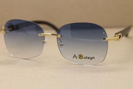 Wholesale Larger Women - New Rimless T8100907 Black Buffalo Horn Sunglasses Larger brand luxury Glasses sunglasses men Frame Size:61-18-140mm
