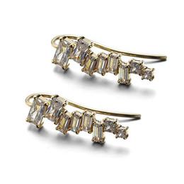 Ruifan Rectángulo personalizado Claro Zirconio cúbico Stud Pendientes para las mujeres 14 k Color oro 925 pendientes de plata joyería del partido YEA113 desde fabricantes