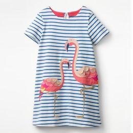 Wholesale New Girls Embroidered Dress - 2018 Summer New Girls Dress with Flamingo Embroidered Appliques Jersey Short Sleeve Striped Animal 100% Cotton Dress