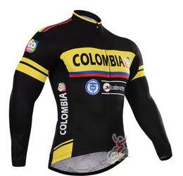 Весна лето только велоспорт куртки одежда длинный Джерси ROPA CICLISMO 2015 Колумбия PRO TEAM черный желтый C024 размер:XS-4XL от