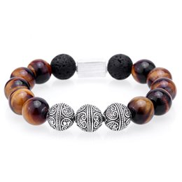 2019 12мм рождественские бисер Mcllroy Beaded Bracelets Bracelet men Thai silver 12MM Tiger eye Lava  Hand made bracelet men jewelry Christmas gifts New скидка 12мм рождественские бисер
