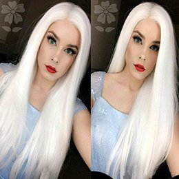 Cosplay wig Synthetic white 150% Density Lace Front Natural Long Straight Wigs Glueless Heat Resistant Fiber Women Straight Hair Coupon
