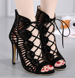 Wholesale Fish Tie - 2018 the latest fashion European show hollow cross strap sandals fish mouth sexy shoes hot sale