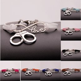 Wholesale Woman Handcuffs Bracelet - New Hot Stylish Christmas Gift Police Handcuffs Pendant Love Infinity Charm Leather Bracelet Women Men Handcuffs Wrist Jewelry