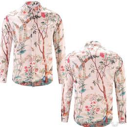 nuevos hombres miran camisas Rebajas 2018 New men brand shirts runway look print manga larga más tamaño vestido de camisa de diseñador 3d camisas de lujo ropa para hombres M-2XL